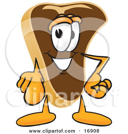 Clipart Picture of a Meat Beef Steak Mascot Cartoon Character Pointing Outwards at the Viewer by Toons4Biz