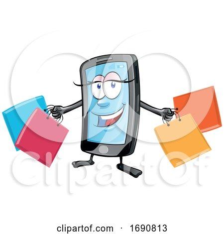 Female Mobile Phone Mascot Holding Shopping Bags by Domenico Condello