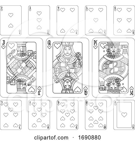 Playing Cards Hearts Black and White Posters, Art Prints
