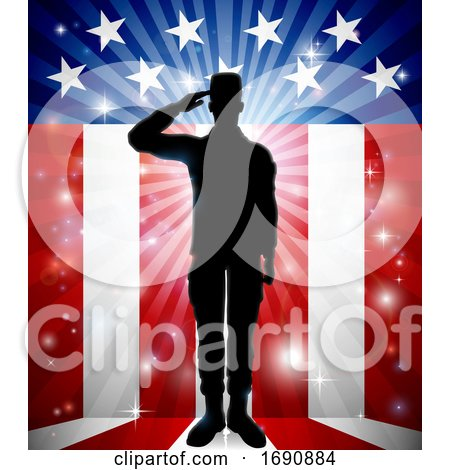 Patriotic American Soldier Saluting Flag by AtStockIllustration