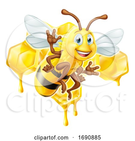 Cartoon Bee Character with Honeycomb by AtStockIllustration