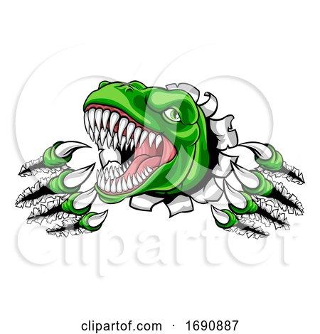 Dinosaur T Rex or Raptor Cartoon Mascot by AtStockIllustration