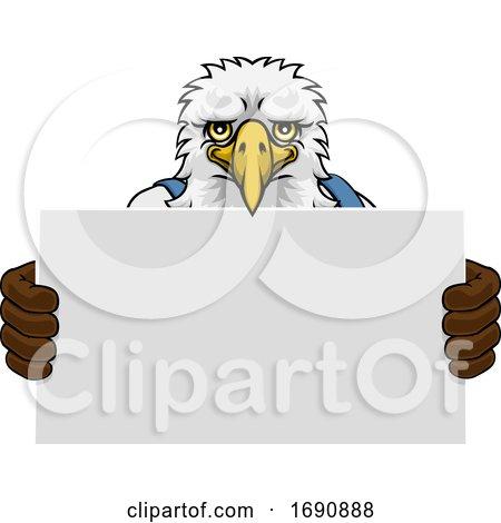 Eagle Cartoon Mascot Handyman Holding Sign by AtStockIllustration
