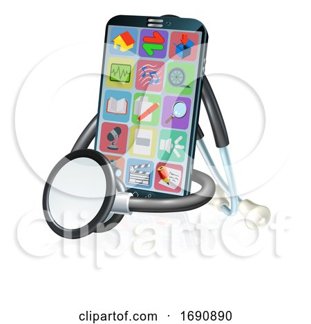 Mobile Phone Health Medical App Stethoscope Design by AtStockIllustration