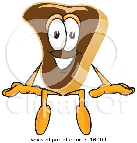 Clipart Picture of a Meat Beef Steak Mascot Cartoon Character Sitting by Toons4Biz