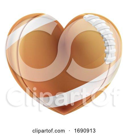 Love Heart Shape American Football Ball Concept Posters, Art Prints
