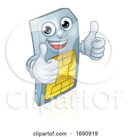 Sim Card Thumbs up Mobile Phone Cartoon Mascot by AtStockIllustration