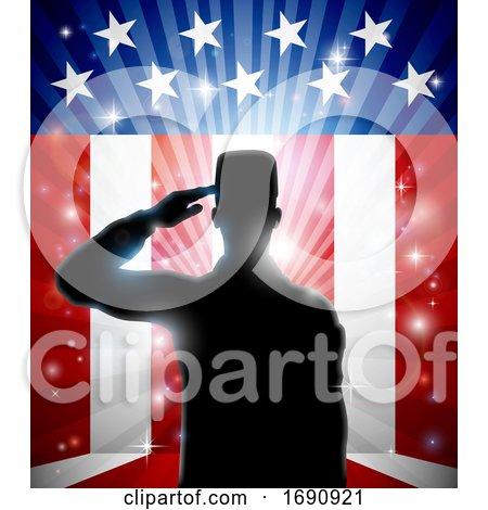 American Patriotic Soldier Saluting Flag by AtStockIllustration