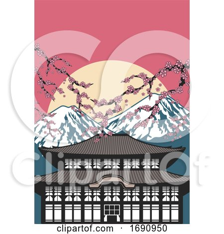 Japanese Temple Mountains and Blossoms by Vector Tradition SM