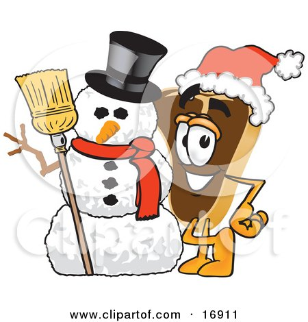 Clipart Picture of a Meat Beef Steak Mascot Cartoon Character Wearing a Santa Hat and Standing With a Snowman by Toons4Biz