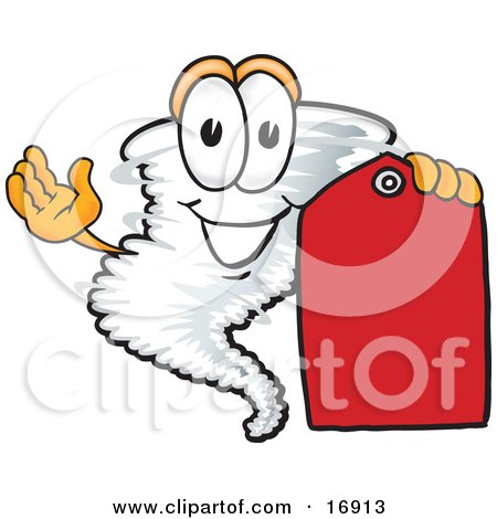 Tornado Mascot Cartoon Character Holding a Blank Red Sales Price Tag Posters, Art Prints