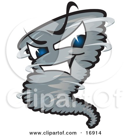 Evil Blue Eyed Dark Tornado Mascot Cartoon Character  Posters, Art Prints