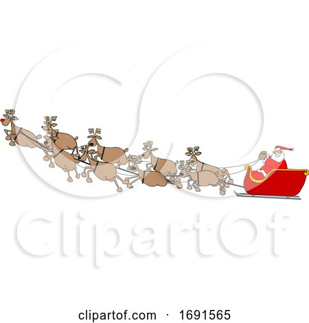 Cartoon Santa Claus and Magic Reindeer in Flight by djart