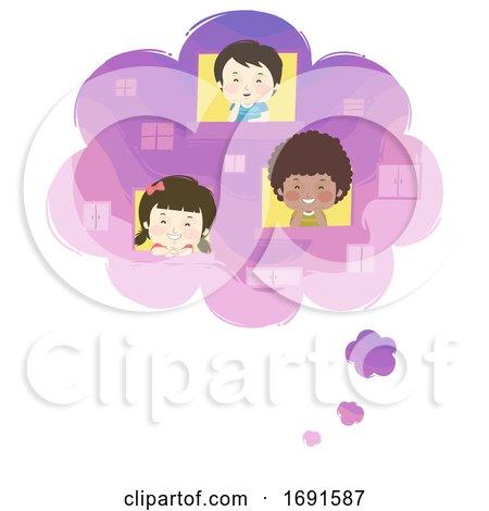 Kids Thought Bubble Window Dreams Illustration by BNP Design Studio