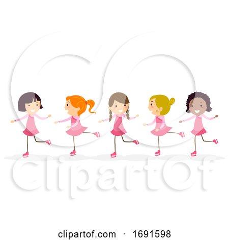 Stickman Kids Girls Figure Skating Illustration by BNP Design Studio