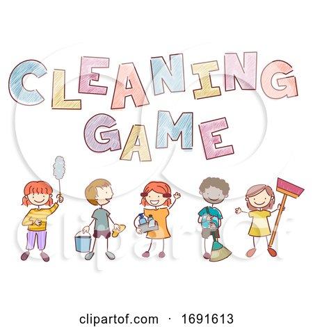 Stickman Kids Cleaning Game Illustration by BNP Design Studio