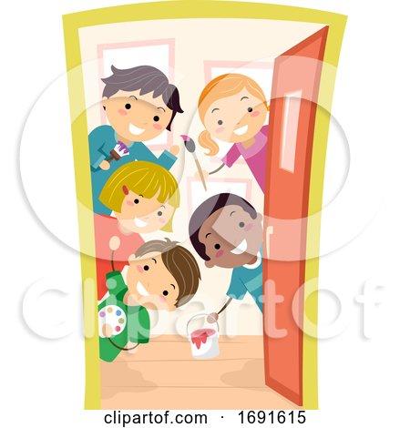 Stickman Kids Door Art Class Illustration by BNP Design Studio