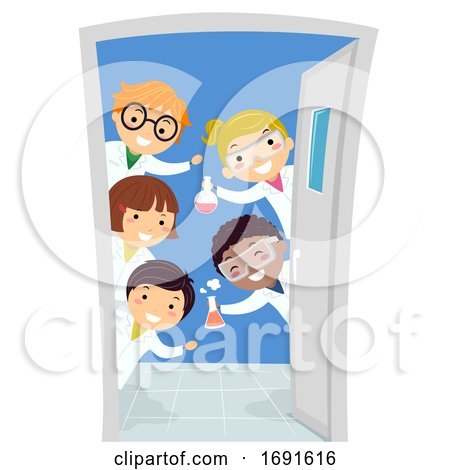 Stickman Kids Door Chemistry Class Illustration by BNP Design Studio