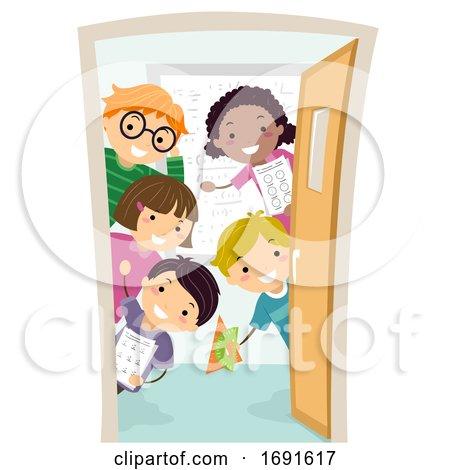 Stickman Kids Door Math Class Illustration by BNP Design Studio