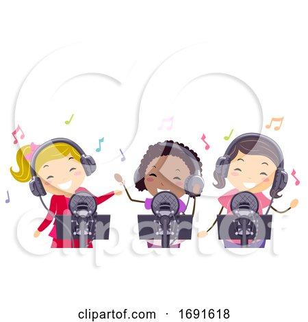 Stickman Kids Girls Pop Star Record Illustration by BNP Design Studio