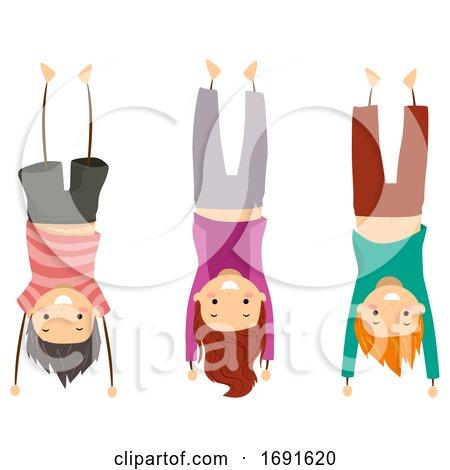 Stickman Kids Group Hand Stand Pose Illustration by BNP Design Studio