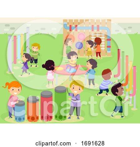Stickman Kids Musical Sensory Garden Illustration by BNP Design Studio