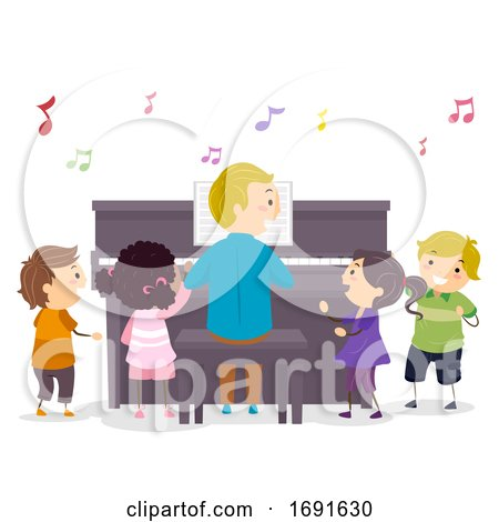 Stickman Kids Piano Teacher Illustration by BNP Design Studio