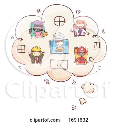 Stickman Kids Professions Thinking Cloud by BNP Design Studio