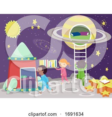 Stickman Kids Room Space Theme Illustration by BNP Design Studio