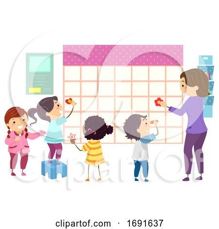 Stickman Kids Students Teacher School Calendar by BNP Design Studio