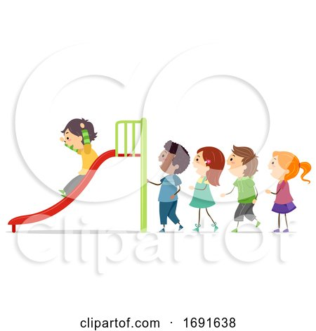 Stickman Kids Take Turns Slide Illustration by BNP Design Studio