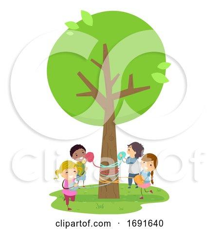 Stickman Kids Tree Yarn Bombing Illustration by BNP Design Studio