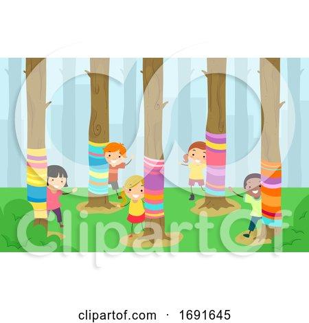 Stickman Kids Yarn Bombing Trees Illustration by BNP Design Studio