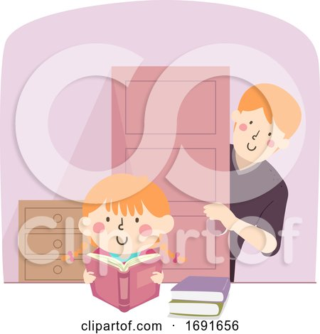 Kid Girl Man Study Father Checking Illustration by BNP Design Studio