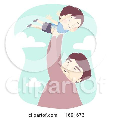 Kid Boy Dad Man Lift Fly Illustration by BNP Design Studio