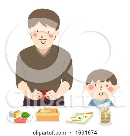 Kid Boy Dad Man Make Lunch Illustration by BNP Design Studio