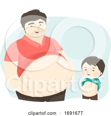 Kid Boy Man Dad Show Big Tummy Illustration by BNP Design Studio