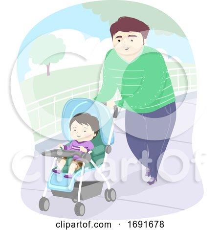 Kid Boy Dad Man Stroller Park Illustration by BNP Design Studio