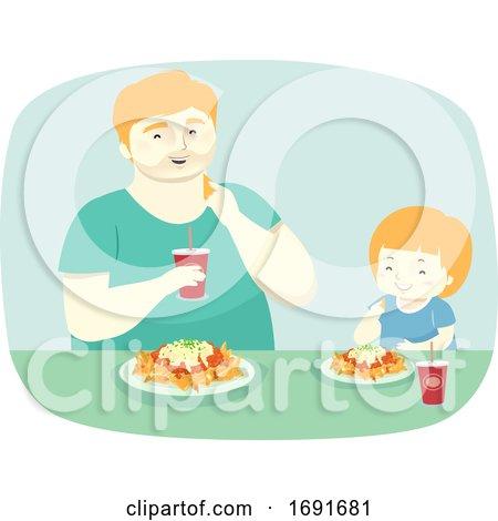 Kid Man Father and Son Eat Nachos Illustration by BNP Design Studio
