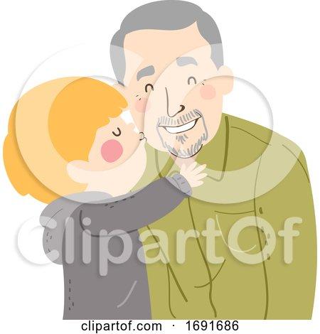 Kid Boy Kiss Grandpa Cheek Senior Man Illustration by BNP Design Studio