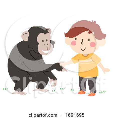 Kid Boy Chimpanzee Hand Greet Illustration Posters, Art Prints