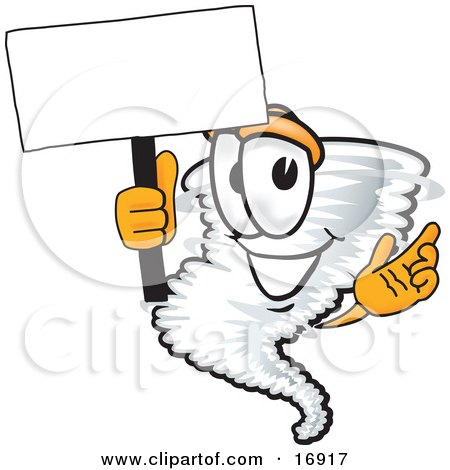 Clipart Picture of a Tornado Mascot Cartoon Character Waving a Blank White Sign by Toons4Biz