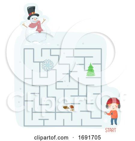 Kid Boy Scavenger Hunt Snow Maze Illustration Posters, Art Prints