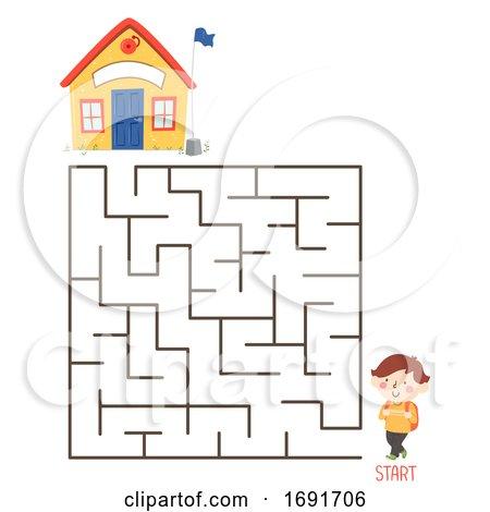 Kid Boy School Maze Puzzle Illustration Posters, Art Prints