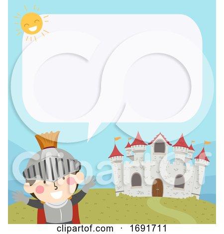 Kid Boy Knight Castle Speech Bubble Illustration by BNP Design Studio