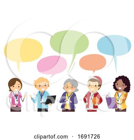 Stickman Teachers Speech Bubble Illustration by BNP Design Studio