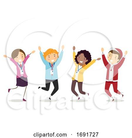 Stickman Teachers Jump Illustration by BNP Design Studio