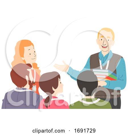 Senior Man Talk to Young Teachers Illustration by BNP Design Studio