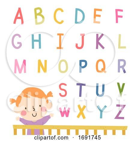 Kid Girl Baby Crib Alphabet Illustration by BNP Design Studio
