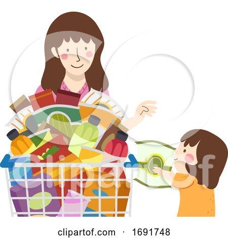 Kid Girl Mom Grocery Snacks Illustration by BNP Design Studio